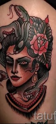 Медуза Горгона тату – фото пример для статьи про значение татуировки 3