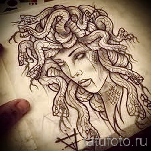 Медуза Горгона тату - фото пример для статьи про значение татуировки 23