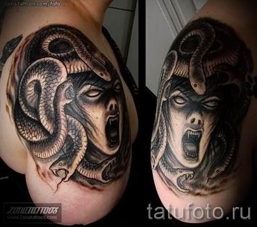 Медуза Горгона тату - фото пример для статьи про значение татуировки 42