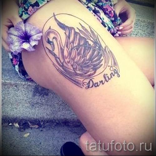 Пример татуировки с лебедем - фото для статьи про значение тату 17