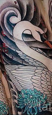 Пример татуировки с лебедем – фото для статьи про значение тату  37