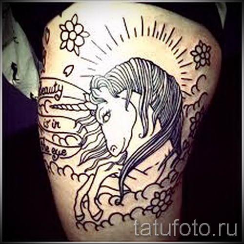 Пример фото с классной тату единорог для статьи про значение тату 39