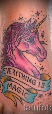 Пример фото с классной тату единорог для статьи про значение тату 73