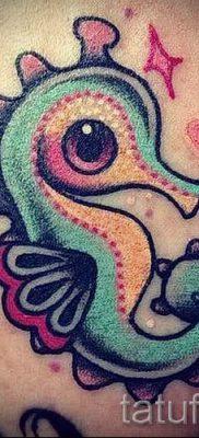 Тату морской конек – фото пример готовой тату для статьи про значение 27