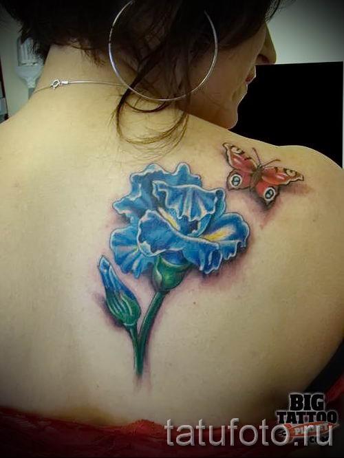 Фото пример тату ирис для статьи про значение татуировки с ирисом 19