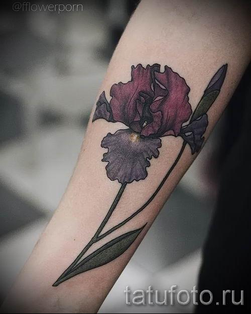 Фото пример тату ирис для статьи про значение татуировки с ирисом 27