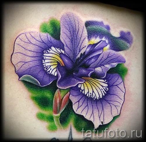 Фото пример тату ирис для статьи про значение татуировки с ирисом 43