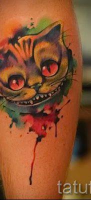 Фото тату Чеширский кот для статьи про значение рисунка татуировки – tatufoto.ru – 2
