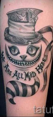 Фото тату Чеширский кот для статьи про значение рисунка татуировки – tatufoto.ru – 4
