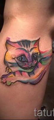 Фото тату Чеширский кот для статьи про значение рисунка татуировки – tatufoto.ru – 7