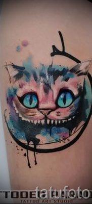 Фото тату Чеширский кот для статьи про значение рисунка татуировки – tatufoto.ru – 11