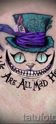 Фото тату Чеширский кот для статьи про значение рисунка татуировки – tatufoto.ru – 55
