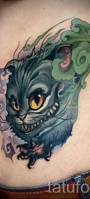 Фото тату Чеширский кот для статьи про значение рисунка татуировки – tatufoto.ru – 59