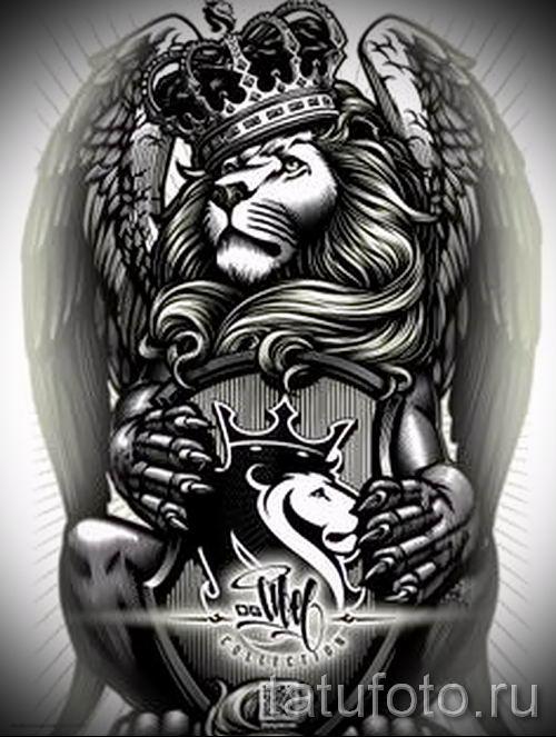 тату лев с короной - фото для статьи про значение татуировки - tatufoto.ru - 4