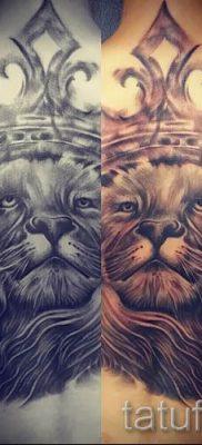 тату лев с короной – фото для статьи про значение татуировки  – tatufoto.ru – 18