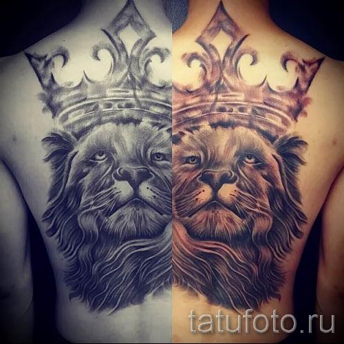 тату лев с короной - фото для статьи про значение татуировки - tatufoto.ru - 18