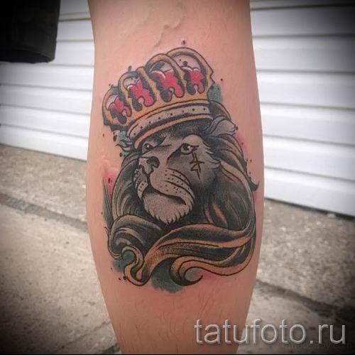 тату лев с короной - фото для статьи про значение татуировки - tatufoto.ru - 20