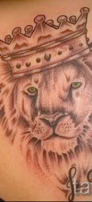 тату лев с короной – фото для статьи про значение татуировки  – tatufoto.ru – 31