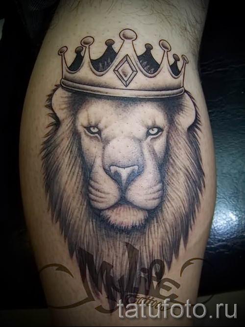 тату лев с короной - фото для статьи про значение татуировки - tatufoto.ru - 40