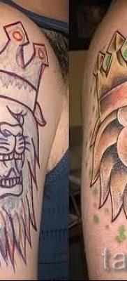 тату лев с короной – фото для статьи про значение татуировки  – tatufoto.ru – 45