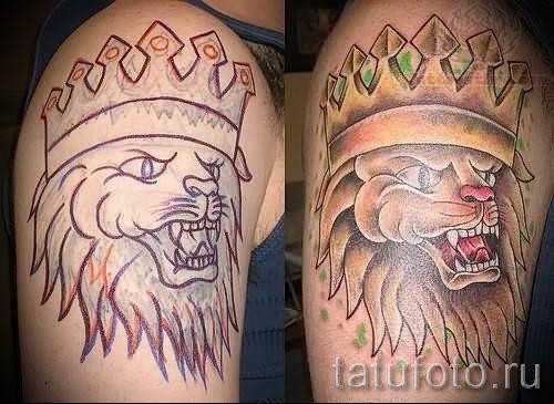 тату лев с короной - фото для статьи про значение татуировки - tatufoto.ru - 45