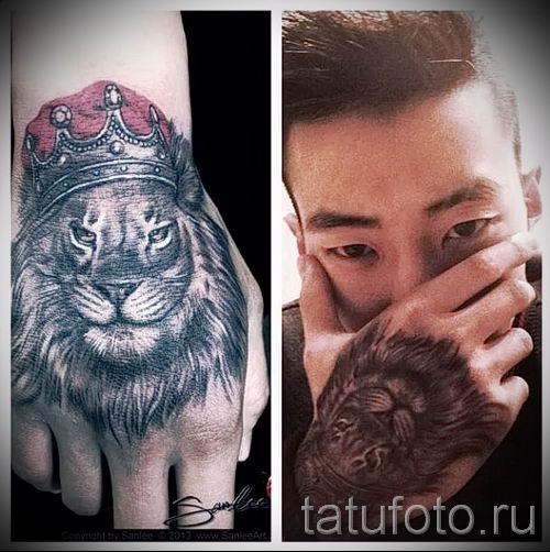 тату лев с короной - фото для статьи про значение татуировки - tatufoto.ru - 49