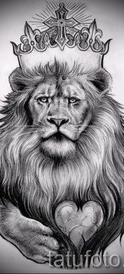 тату лев с короной – фото для статьи про значение татуировки  – tatufoto.ru – 54