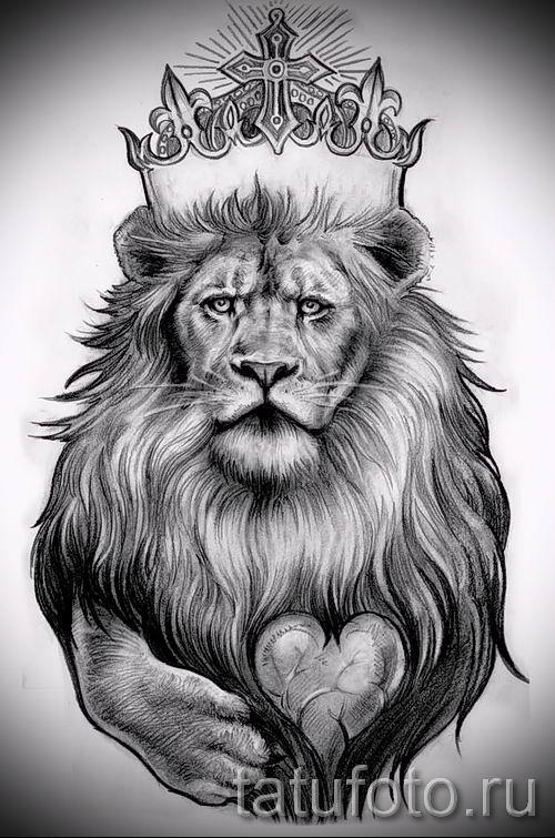 тату лев с короной - фото для статьи про значение татуировки - tatufoto.ru - 54