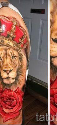 тату лев с короной – фото для статьи про значение татуировки  – tatufoto.ru – 62