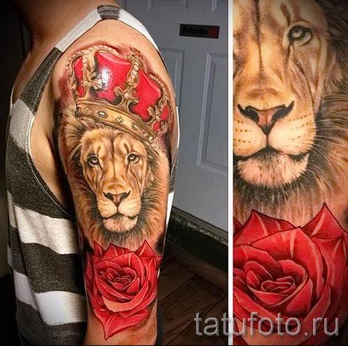 тату лев с короной - фото для статьи про значение татуировки - tatufoto.ru - 62