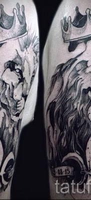 тату лев с короной – фото для статьи про значение татуировки  – tatufoto.ru – 63
