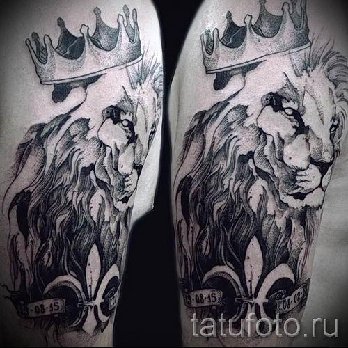 тату лев с короной - фото для статьи про значение татуировки - tatufoto.ru - 63