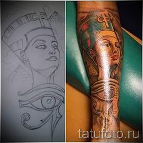 фото классной готовой тату Нефертити для статьи про значение 11