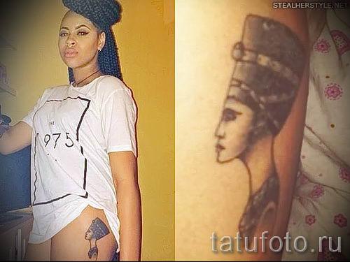 фото классной готовой тату Нефертити для статьи про значение 13