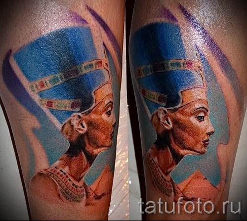 фото классной готовой тату Нефертити для статьи про значение 14
