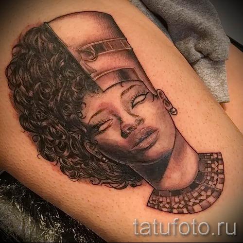 фото классной готовой тату Нефертити для статьи про значение 46