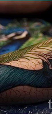 Фото стильной наколки перо павлина эскиз которой подойдет для живота или запястья – значение тату материал