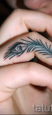 Фотография необычной тату перо павлина рисунок которой подойдет для ноги или груди – значение тату материал