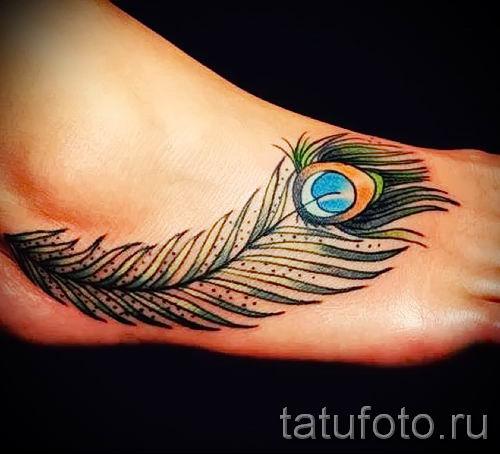 Фотография необычной наколки перо павлина рисунок которой подойдет для икры или лопатки - значение тату материал