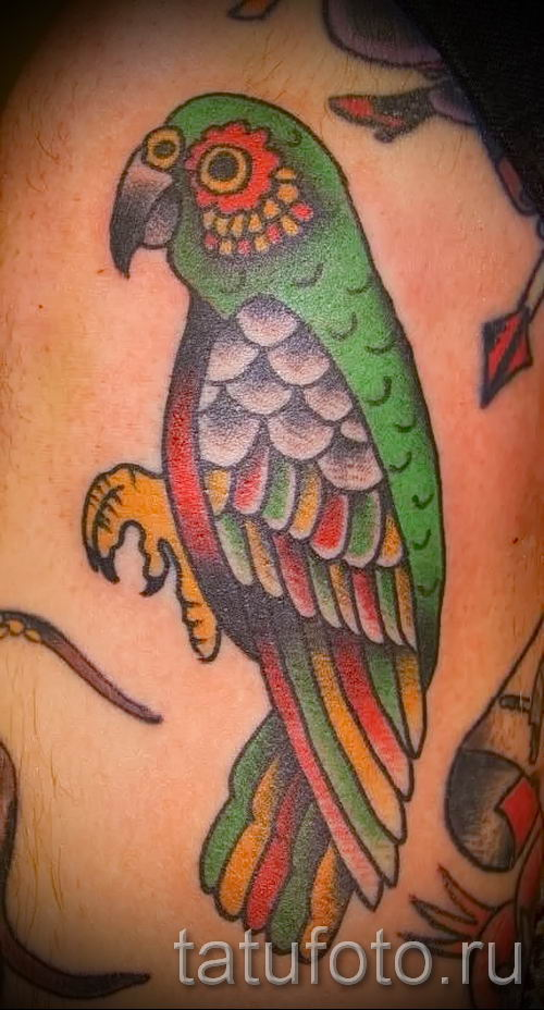 фото пример тату попугай для статьи про значение тату с попугаем - 1