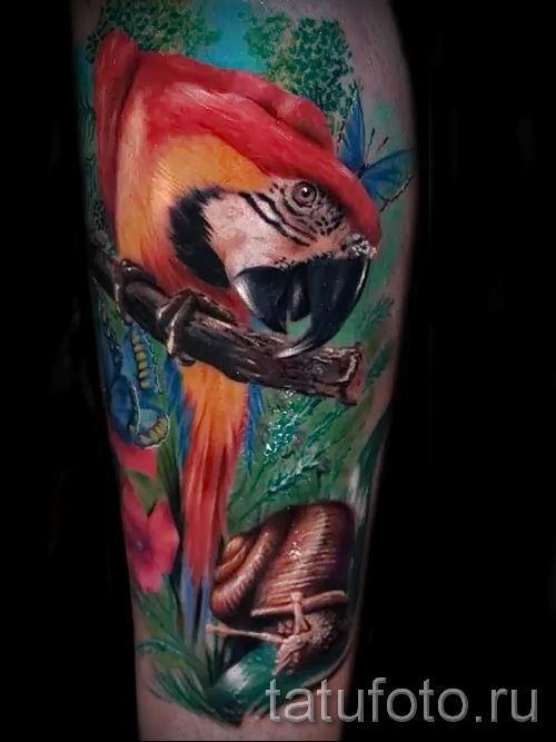 фото пример тату попугай для статьи про значение тату с попугаем - 13