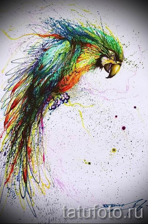 фото пример тату попугай для статьи про значение тату с попугаем - 23