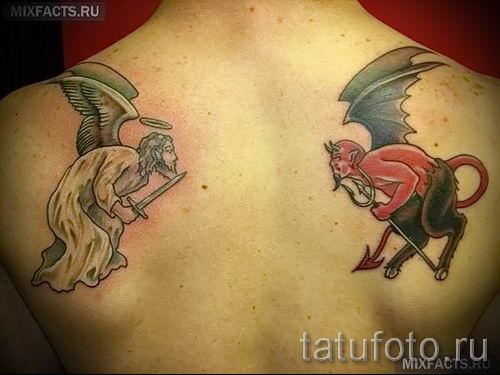 разные крылья на спине тату добро и зло - Фото тату и