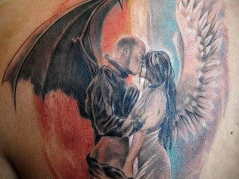 фото тату ангел и демон для статьи про значение рисунка татуировки - tatufoto.ru - 24