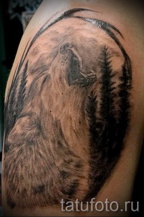 Волк воет на луну тату фото