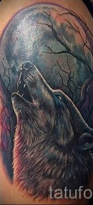 Волк воющий на луну тату