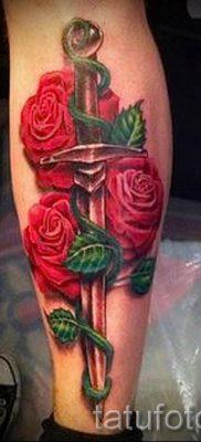 фото тату кинжал и роза пример для статьи про значение татуировки – tatufoto.ru – 2