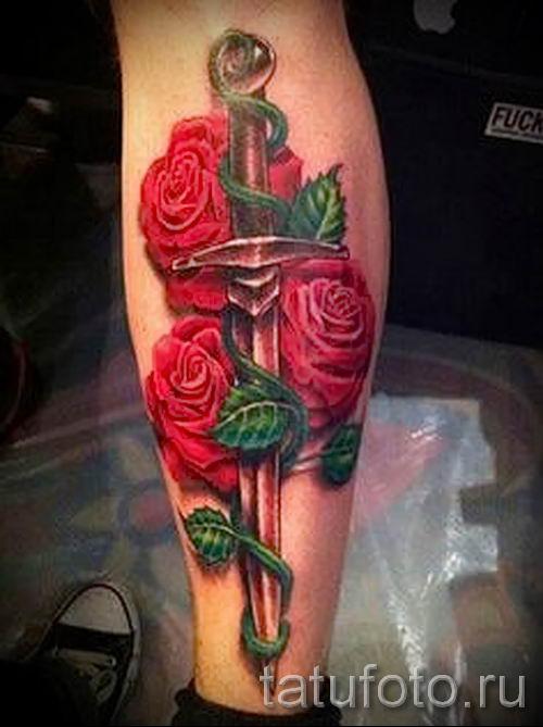 Тату роза с кинжалом значение