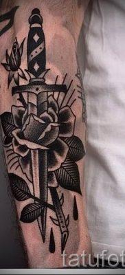 фото тату кинжал и роза пример для статьи про значение татуировки – tatufoto.ru – 10