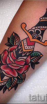 фото тату кинжал и роза пример для статьи про значение татуировки – tatufoto.ru – 13